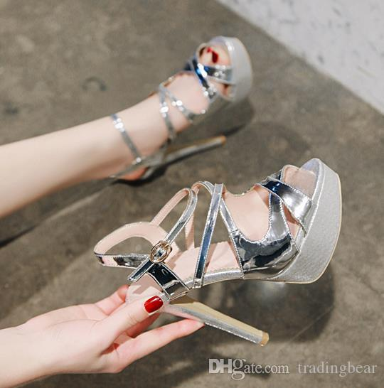 Big small size 33 to 40 41 42 43 gold silver platform high heels bride wedding shoes luxury women designer open toe heels