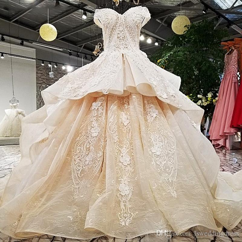 3ccf9fa839bb Wedding Dress 2019 Champagne Off Shoulder Bridal Gowns Off Custom Size Two  Layers Skirt Big With Long Train From China Bridal Dresses Online Cheap Lace  ...
