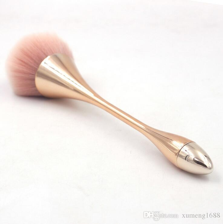 Powder Foundation Brushes - Professional Makeup Brush Foundation Buffing Cosmetic Make Up Brushes Plastic Plating Handle (Gold Pink)