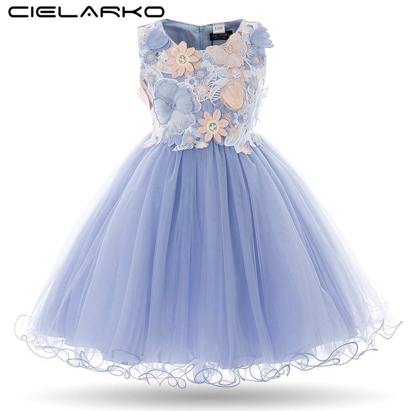 f02a6a5e9 Cielarko niños niñas flor vestido de niña bebé mariposa cumpleaños fiesta  vestidos niños princesa elegante vestido de bola ropa de la boda ...