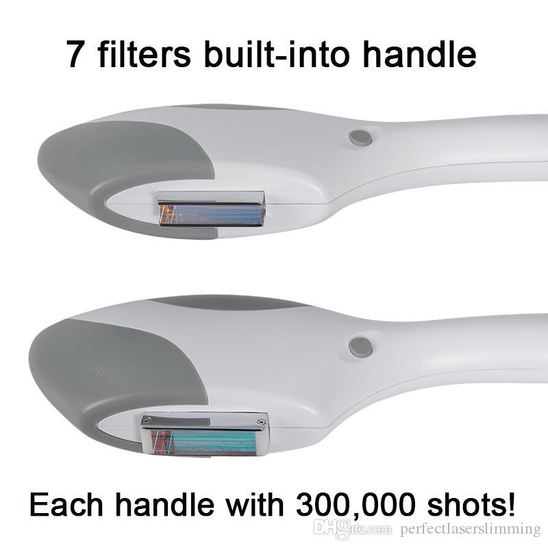 OPT SHR capelli del laser maniglia rimozione dluce ringiovanimento della pelle la macchina di IPL 300.000 scatti Manipolare depilazione permanente