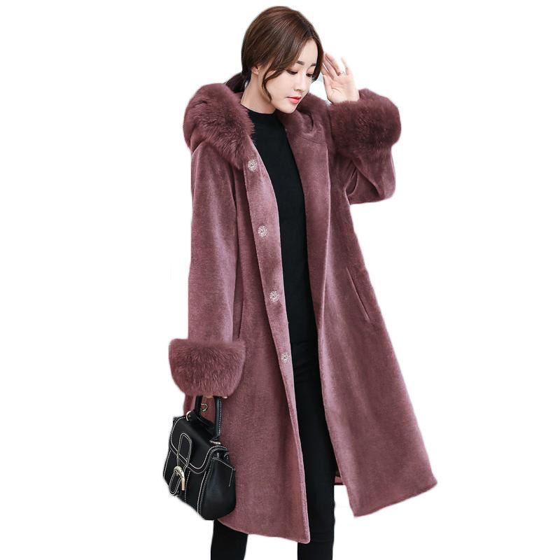 8d8c595eb6937 2018 Women Winter Hooded Fake Fur Coats Plus Size Vintage Artificial Black Faux  Fox Fur Coat With Hood Big Size LQ341 UK 2019 From Redbud01