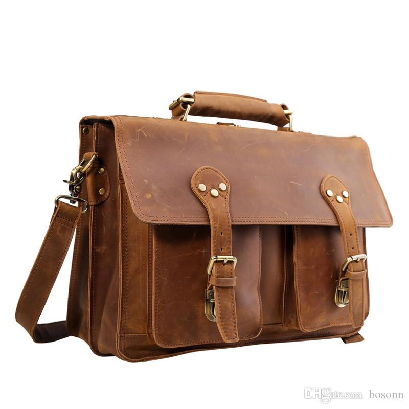 4934ebc0d119 Genuine Leather Briefcase Messenger Bag Hot Sell Satchel for Men Vintage  Business 16 Laptop Bag Luxury Handbag (Brown)