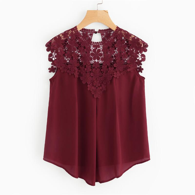 Burgundy Sleeveless Round Neck Sexy Blouse Keyhole Button Back Daisy Lace Shoulder Shell Top Women Elegant Blouses