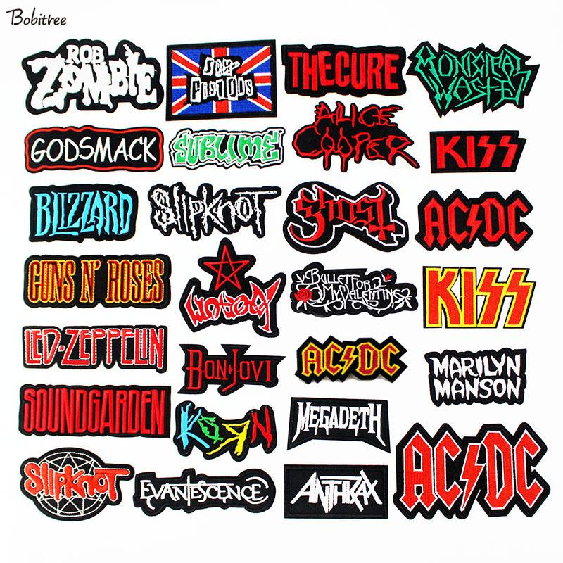 Rock Music Band Clothes Patches Iron on Letters Fashion Embroidered Badges  DIY Appliques for Jacket Clothes Decoration