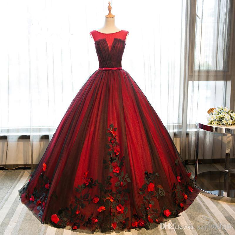 Elegant Women Ball Gown Quinceanera Dresses With Sashes Red&Black Formal Evening Dresses Floor Length Lace Appliques Lace Up Prom Dresses