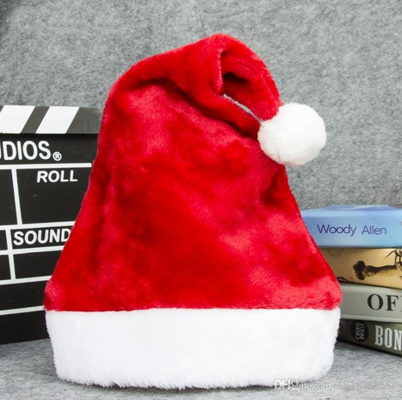 Velvet Santa Hat With Plush Brim Adult Child Christmas Party Cap Celebration Grand Event Favors Gift Red