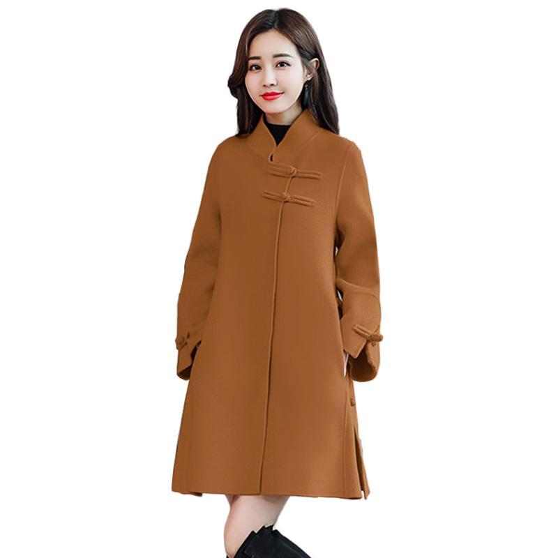 Satın Al Sonbahar Ve Kış Yün Parka Kadınlar 2018 Yeni Moda Pelerin Yün Ceket  Kadın Giyim Zarif Uzun Ince Kadın Palto YM1142 e21b5465154