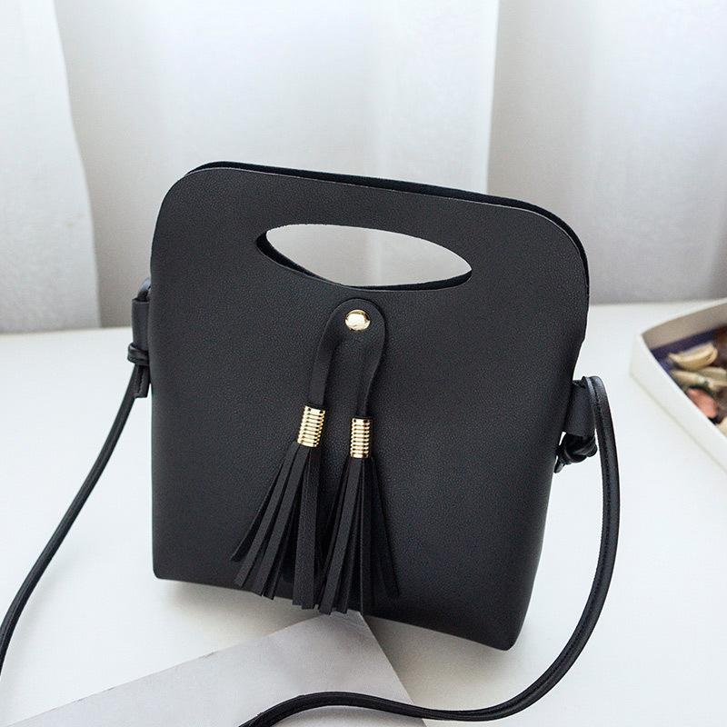 58f6da79e8af Cheap Simple Ladies Candy Color Tassel Bucket Tote Mini Handbag New Arrival Women  Female PU Leather Shoulder Bag Popular FBE3 Backpack Purse Bags For Men ...