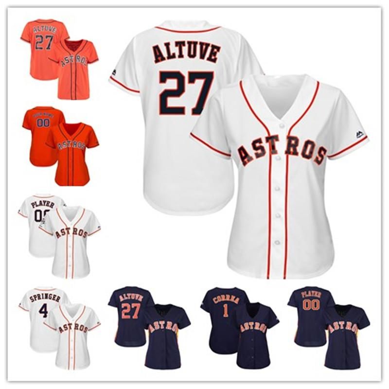 online store 4aa6f a9820 Womens George Springer Aledmys Diaz Custom Astros jersey Jose Altuve Alex  Bregman Carlos Correa Houston Baseball player Jerseys