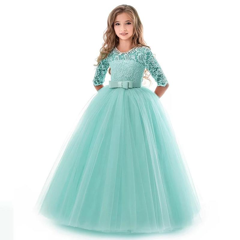Girls Gown Princess Skirt Prom Dresses Long Sleeve Long Skirt Bow Mesh Lace Party Dresses 54
