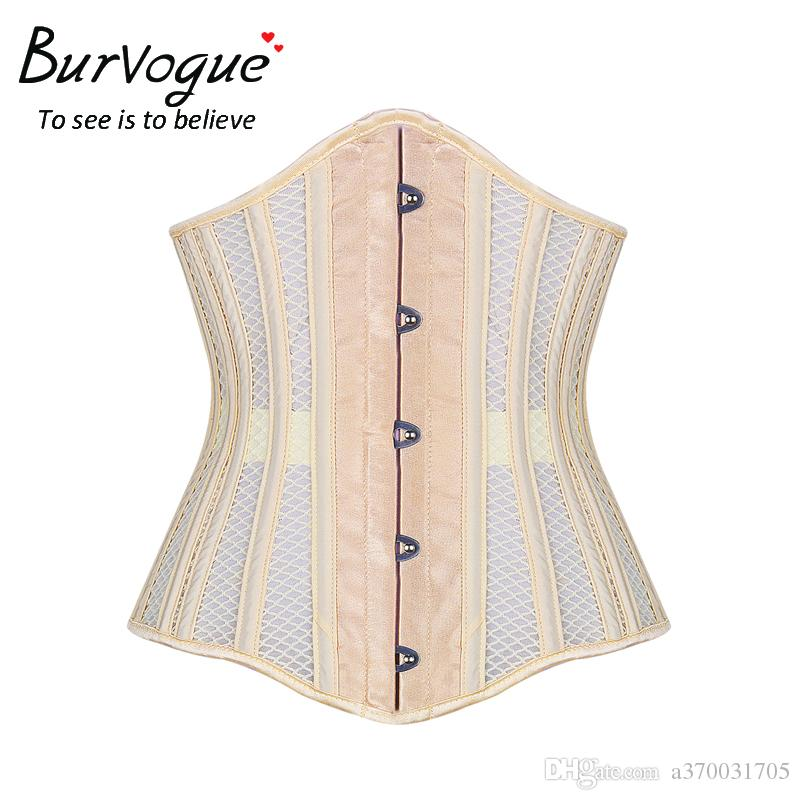 bbf48607df9 2019 Burvogue New Women S Double Steel Boned Corset Mesh Breathable Waist  Control Underbust Sexy Corset   Bustiers For Weight Loss From A370031705