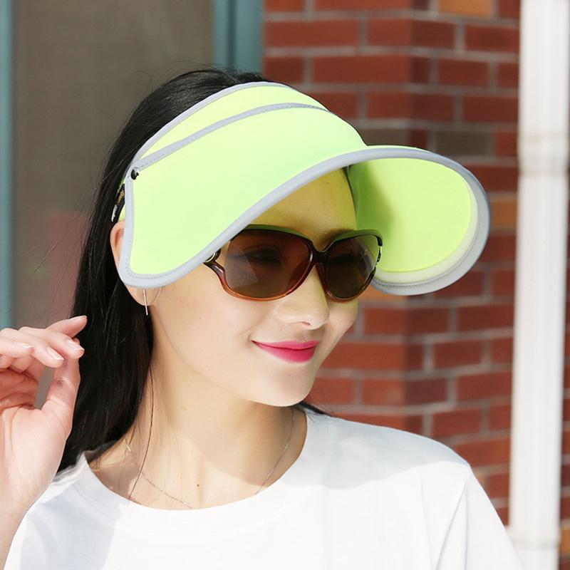 6c4852bfd78 Women Retractable Sun Hat Wide Brim Visor Summer Empty Top Hats ...