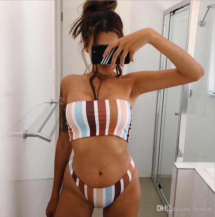 6a6c6574f3537 2019 2019 Trendy Women Stripe Pattern Bikini Set For Beach Girl Sexy  Swimsuit Two Piece Bikinis From Vcozar, $17.99   DHgate.Com