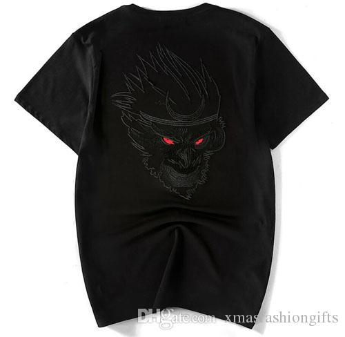 New Fashion Embroidery T Shirt Men Summer Designer Tshirts Short Sleeves Monkey Design Tops Cotton Clothing Plus Size