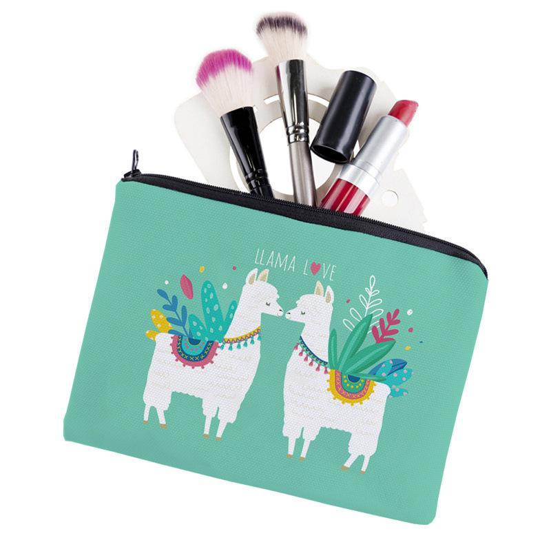 2019 new printing Mori girl heart love alpaca square cosmetic bag toiletries storage bag ladies