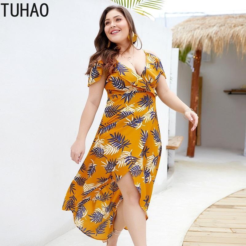 26797d061a55 TUHAO 2019 volantes amarillos tallas grandes vestidos 3XL 4XL gasa vestido  de las mujeres estilo bohemio playa suelta gran tamaño vestidos estampados