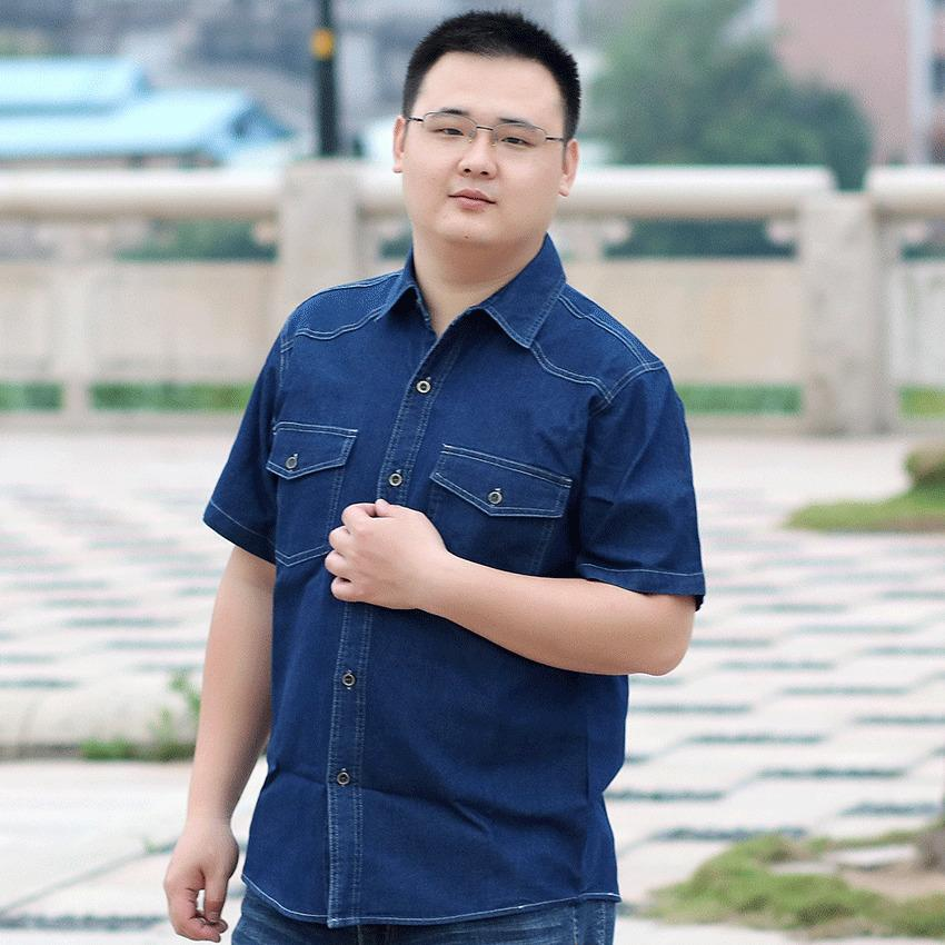 17c61cd1b0c 2019 Men Plus Size Short Sleeve Shirts 4XL 6XL 7XL 8XL Shirt Size Men Denim  Casual Dress Shirt Man From Junqingy