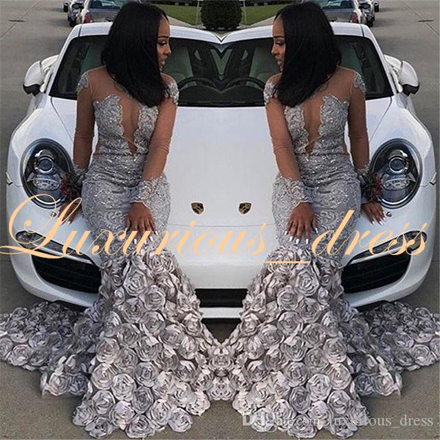 Arabian Prom Dresses 2019 Sparkly Beaded Lace See Through Top 3D Flowers Long Sleeve Grey Mermaid African Black Girl Graduation Dresses