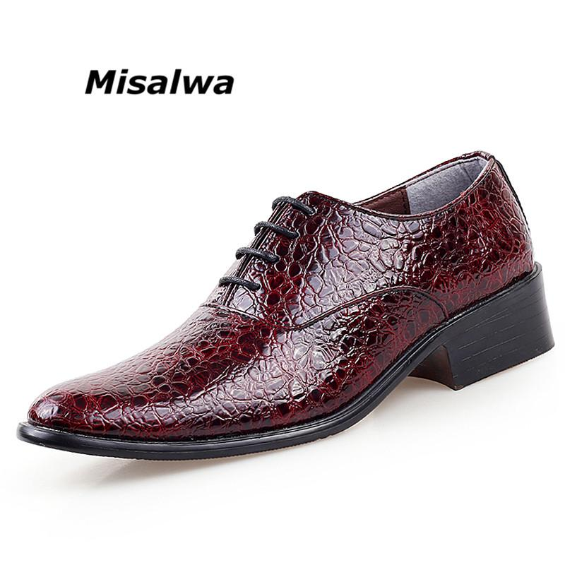 Misalwa Wedding Shoes For Men 2019 Pointed Toe Crocodile Pattern Leather  White Shoes Men Custom Handmade Oxford Dress Mens Shoes Online Mens Dress  Boots ... eaa5bfb2ab57