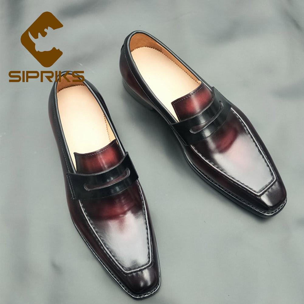 6fb093a67d1 Sipriks Genuine Calf Leather Shiny Loafers Red Black Penny Loafer Italian  Handmade Goodyear Welted Dress Shoes Slip On Footwear Suede Shoes Pumps  Shoes From ...