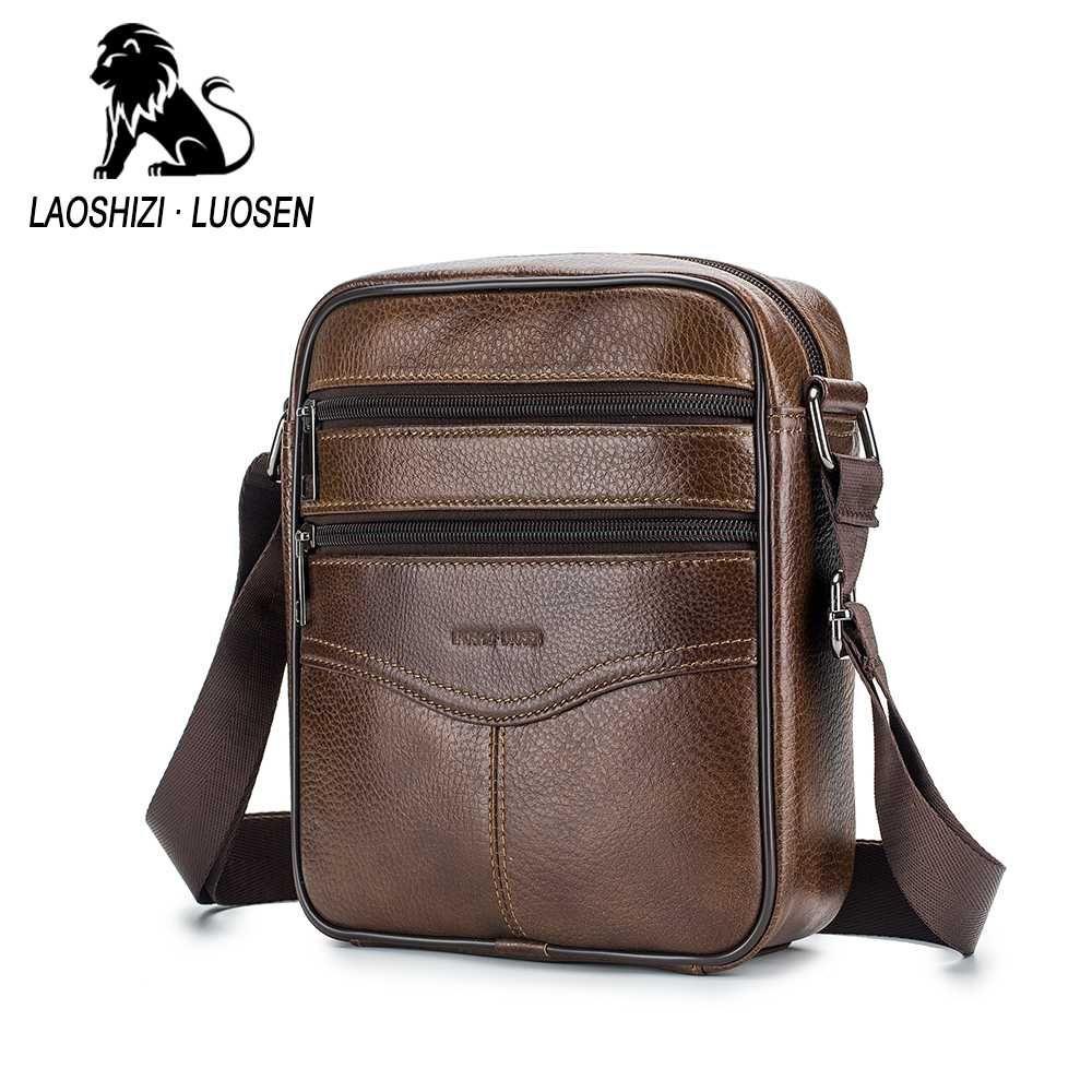 0885572981 LAOSHIZI LUOSEN Double Zipper Shoulder Bag Genuine Leather Men s ...