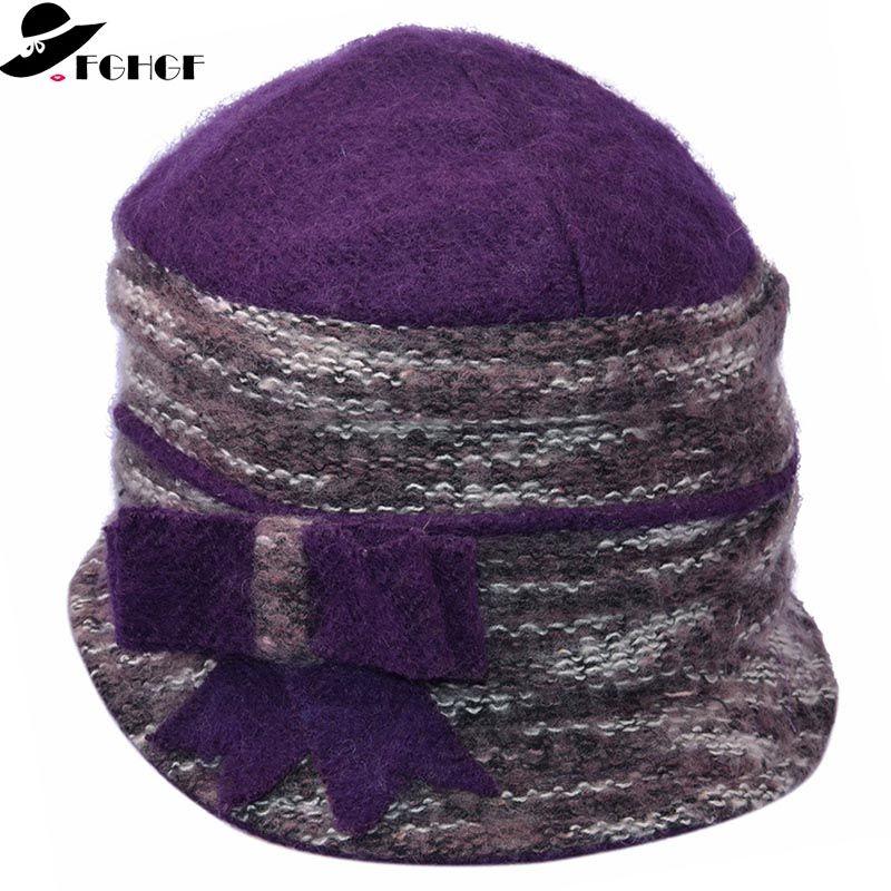 FGHGF Women S Winter Hats Adorn Warm Wool Cloche Hat Ladies Beanie Cap With  Big Bowknot Winter Hats Beanie Hats From Clintcapela aa731462c2a