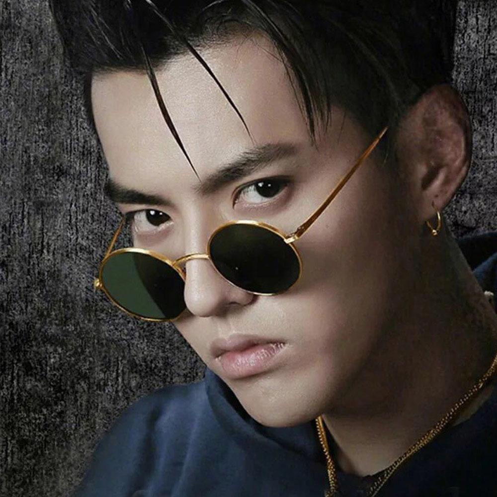 7702f2805a Compre Gafas De Sol Redondas Hombres Mujeres Celebrity Hip Hop Retro Gafas  De Sol Gafas De Lentes Amarillas Transparentes Gafas Pequeñas Oculos Cool A  ...