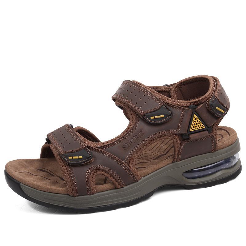 a3c2c618 Compre Para Hombre Zapatos De Verano De Cuero De Vaca Al Aire Libre  Sandalias De Playa Diseño De Colchón De Aire Sandalia Plataforma Zapato  Mans Chaussure ...