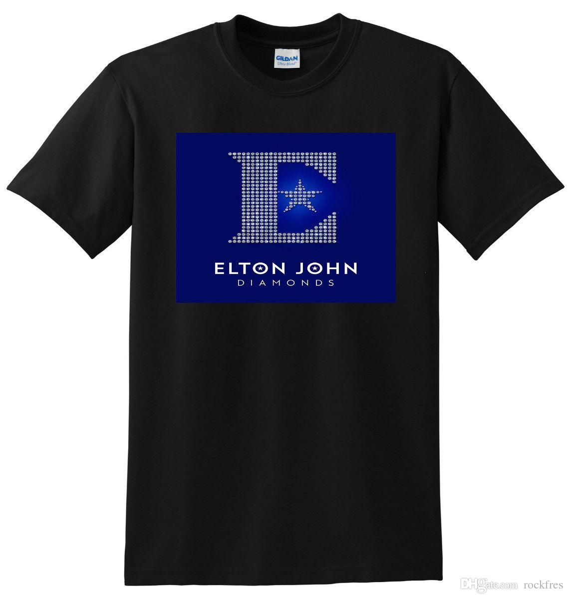 84ed8d4f1af ELTON JOHN T SHIRT Diamonds Vinyl Cd Cover Tee SMALL MEDIUM LARGE Or XL T  Shirt Shopping Awesome Tee Shirts From Rockfres