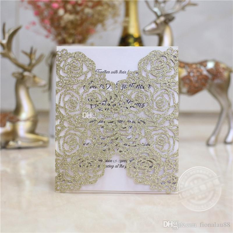 Elegant Champagne Glitter Laser Cut Wedding Invitation, Free Printable With White Envelope Flower Evening Party Invites Make Your Own Wedding Invitations ...