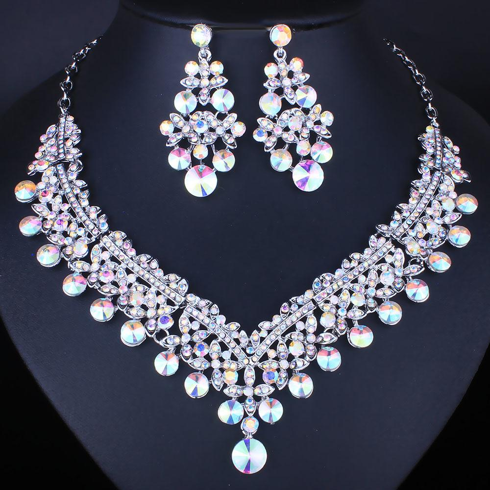 Farlena Wedding Jewelry Hand Painted Water Drop Shape Necklace Set With Crystal Rhinestones Fashion Bridal Jewelry Sets C19021601