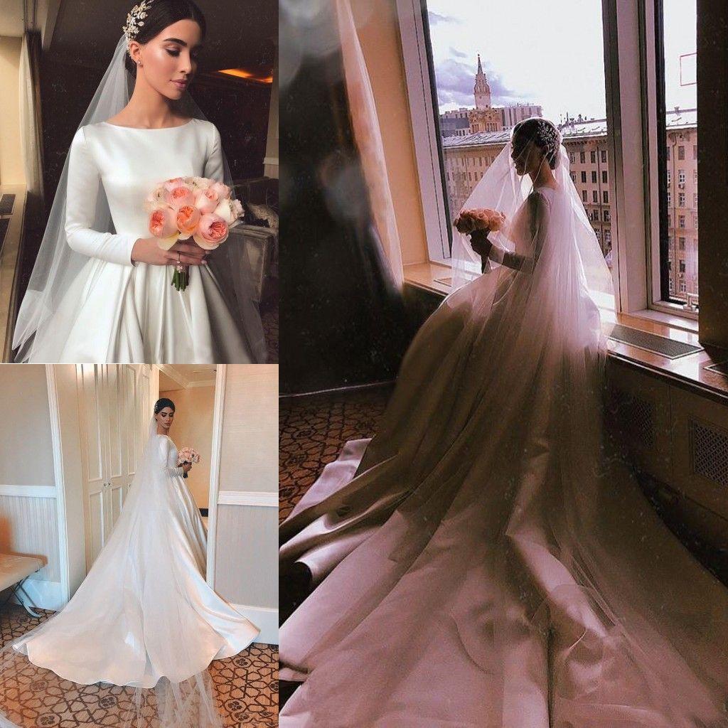 fa3747d1d7b Discount Boat Neck Satin A Line Boho Wedding Dresses 2019 Elegant Long  Sleeves Garden Country Bridal Gowns Zipper Up Back Muslim Wedding Dress  Custom Bridal ...