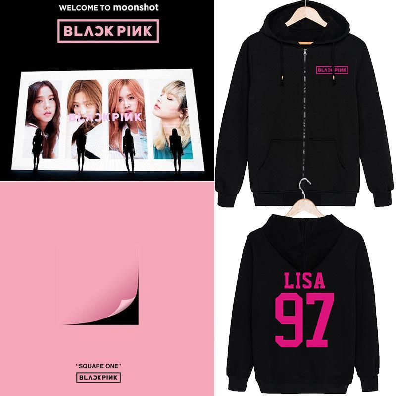 c8781142a2a36 Blackpink JENNIE ROSE LISA Moleton Streetwear Hoodies Hooded Women Men  Friends Sweatshirt Harajuku Oversized Korean Zipper Top
