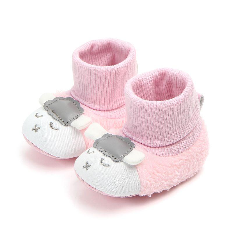 0d769dfac6e77 Baby Boy Girl Cartoon Sheep Baby Shoes Soft Soles Warm Cotton Shoes Walking  Socks Kid