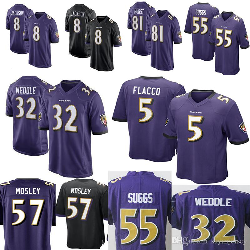 online retailer e9703 ea1f3 Ravens #8 Lamar Jackson 81 Hayden Hurst Jersey Men's 9 Justin Tucker 32  Eric Weddle 55 Terrell Suggs 57 C.J. Mosley Jerseys