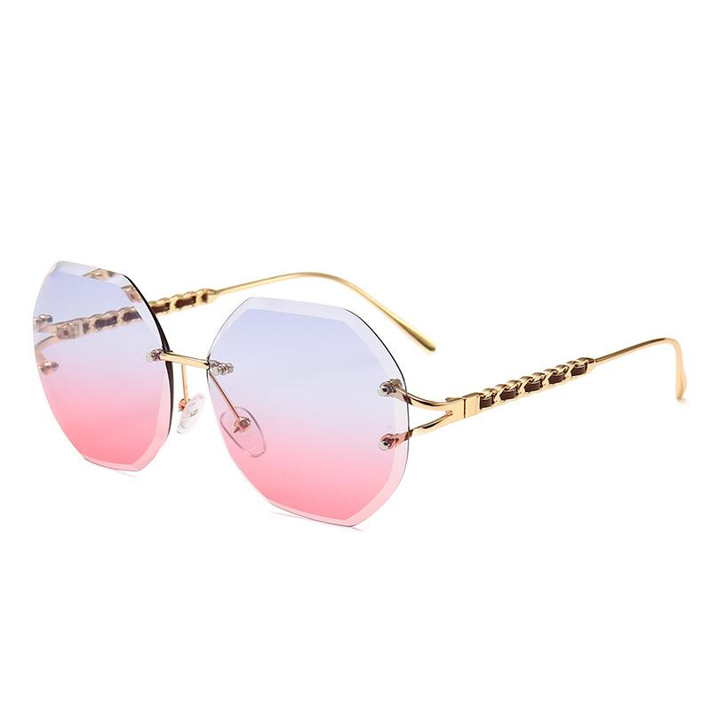 1f2bfc152 Compre 2019 Novas Mulheres Óculos De Sol Famosa Marca Elegante Óculos Sem  Aro De Alta Qualidade Proteção UV De Luxo Grande Armação Óculos Óculos De  Sol Do ...