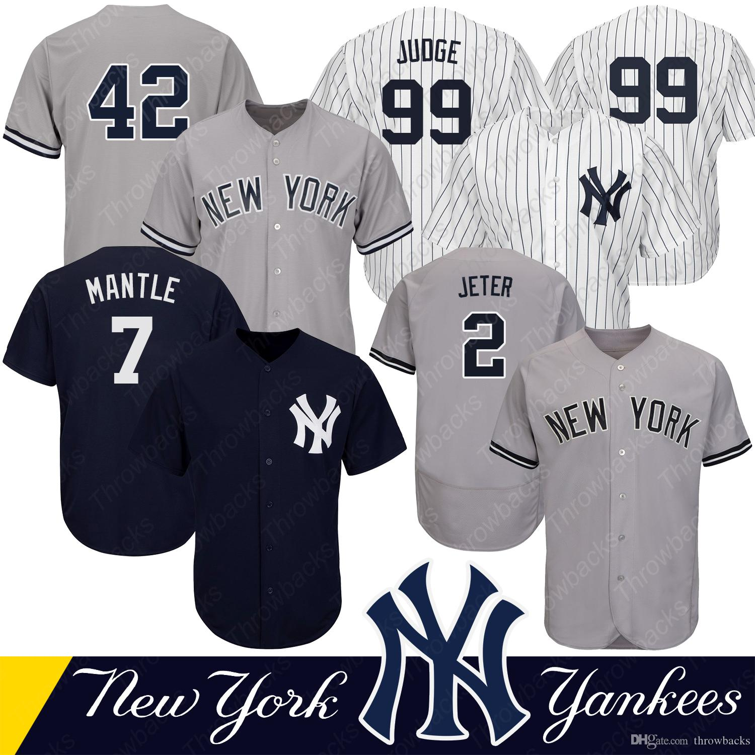 quality design 62ff5 e0c6a New York Men s Yankees jerseys 99 Aaron Judge 42 Mariano Rivera 7 Mickey  Mantle 2 Derek Jeter Baseball Jerseys