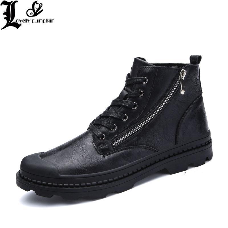 e9c6ec88be64 Winter Autumn PU Leather Men Ankle Boots Fashion Snow Boots For Men ...