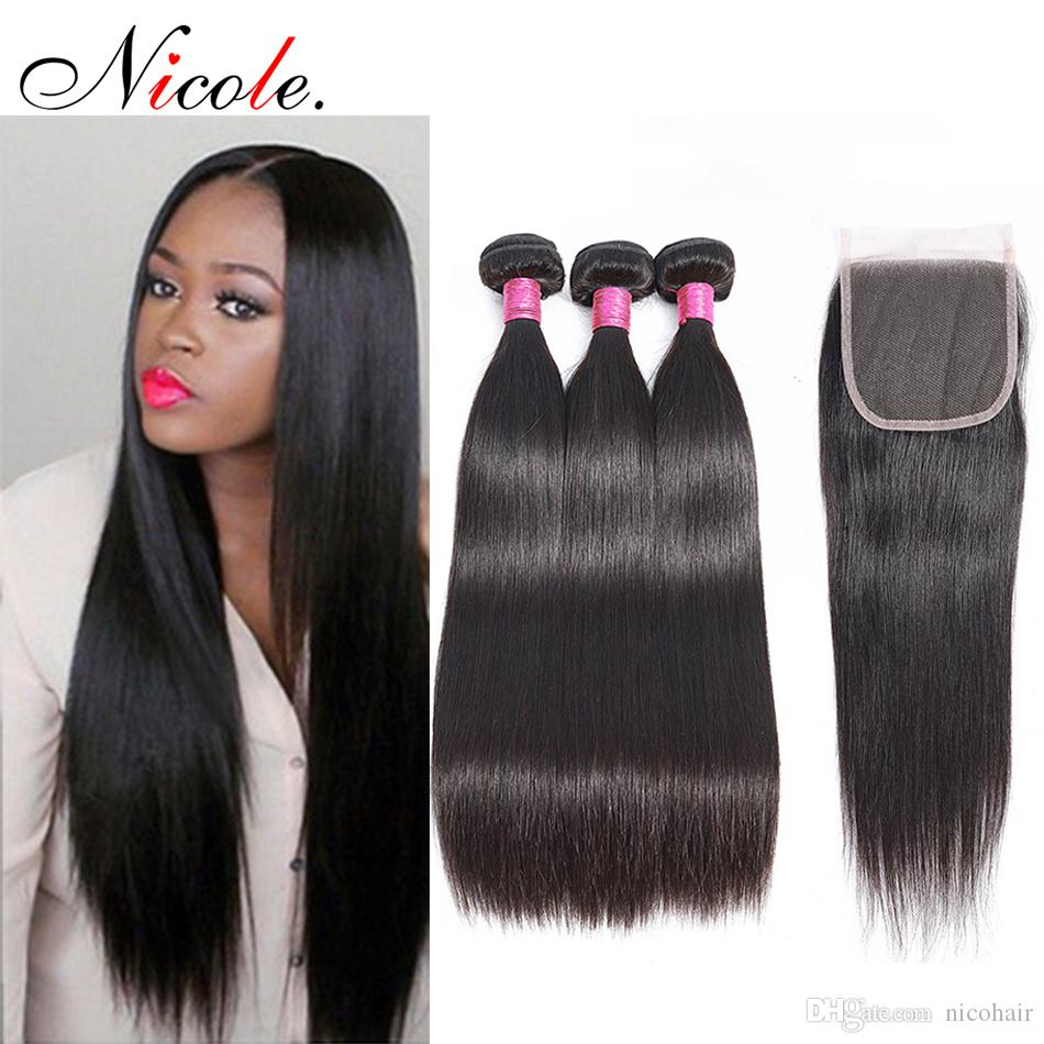 Nicole Hair Malaysian Straight Hair Weave Soft Bundles with Closure Natural Color Non Remy Human Hair 3 Bundles with Lace Closure For Women