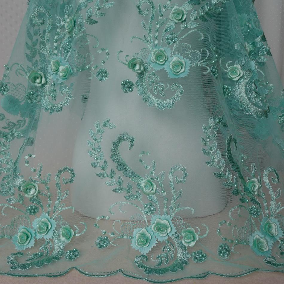 2019 Mint Green Black 3d Floral Beaded Mesh Lace Fabric Embroidered