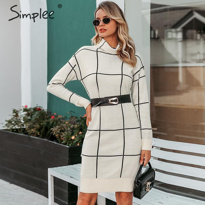 Simplee Elegant women knitted dress Long sleeve turtleneck plaid dress Winter office lady straight chic pullover sweater dress