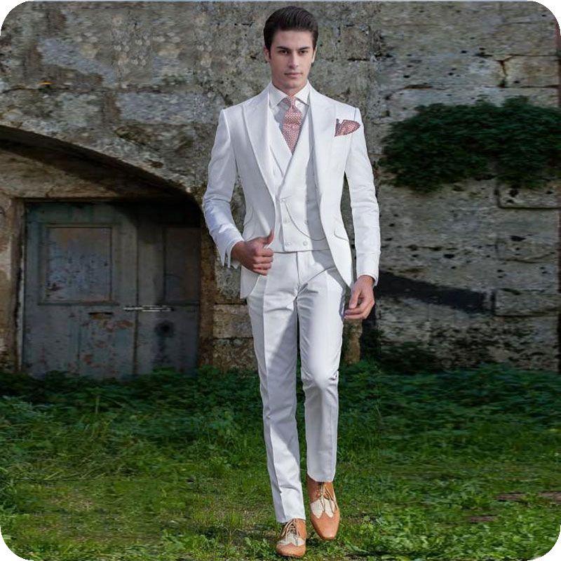 c7c245185bf8 Italian White Men Wedding Suits 2019 Peaked Lapel Groom Tuxedos Retro  Handosme Man Blazers Jacket 3Piece Double Breasted Vest Costume Homme