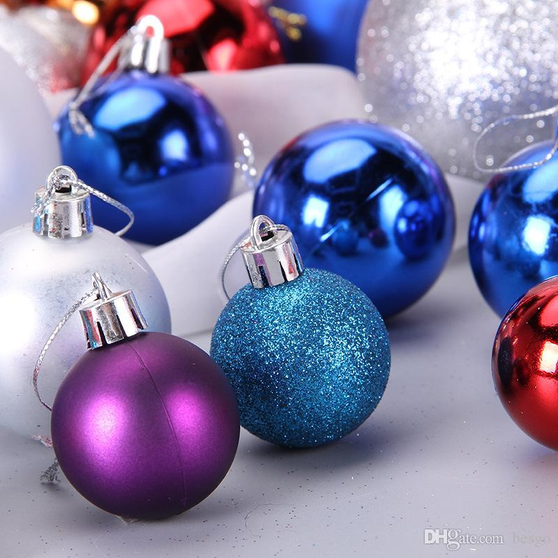 Christmas Tree Balls Ornaments Shatterproof Balls Wedding Party Mini Tree Decorations For Holiday With Muticolor 24pcs Set Dh0155