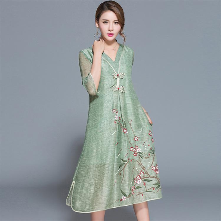 7fa5799248c Ethnic Chinese Style V Neck Button Floral Print Women Dresses High Quality  Silk Linen Dress Side Split Pocket Vestidos Plus Size Going Out Dresses  Summer ...