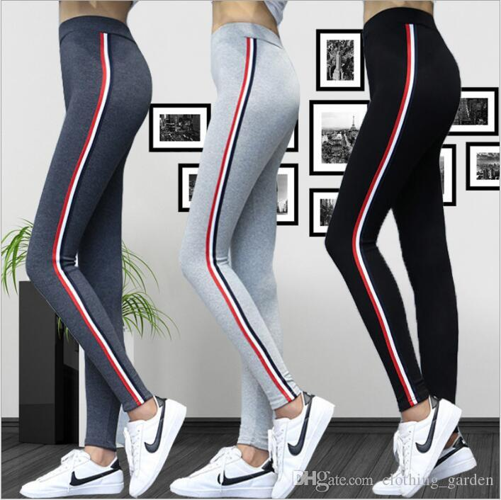 Plus Size Leggings Women Yoga Fitness Jeggings Striped Sports Tights Running Gym Outdoor Leggings Slim Elastic Pencil Pants Hot Capris C4937