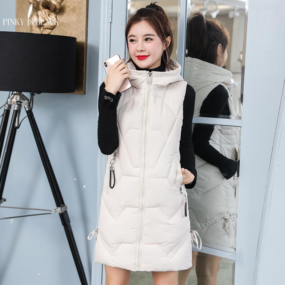 PinkyIsBlack 2019 Winter Vest Women Waistcoat Long Solid Zipper Hooded Vest Jacket Autumn Sleeveless Cotton Padded Coat