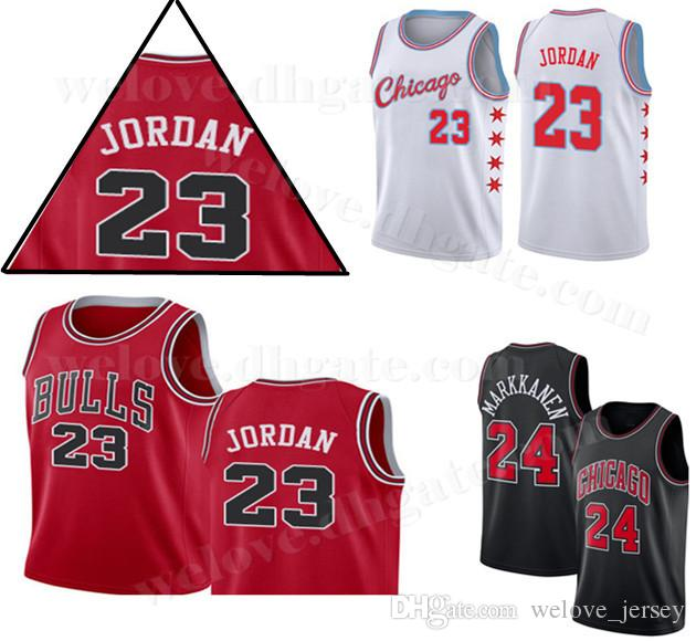 huge discount ff25a ca18d Men Chicago 23 Michael Bulls MJ Jersey 8 LaVine 24 Markkanen Embroidery  Logos Mesh Retro Basketball Jerseys