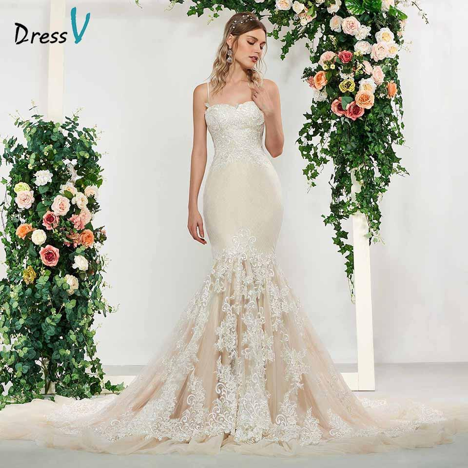 9f477d33bc43f Wholesale Elegant Lace Sleeveless Spaghetti Straps Mermaid Wedding Dress  Floor Length Simple Bridal Gowns Trumpet Wedding Dresses Online with  $475.54/Piece ...