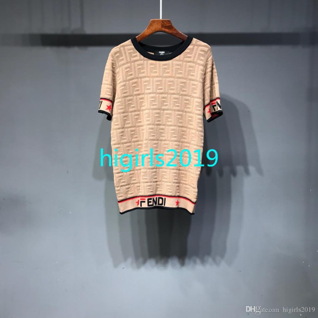 Women girls short sleeve tees shirts ice silk luxury brand tag fabric  letter t-shirt stretch with mania vogue knit top blouse knitted 2c